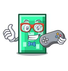 Gamer rectangle mascot cartoon style vector