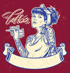 Girl tattoo artist with banner vector