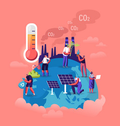 Global warming concept tiny characters care of vector