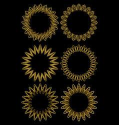 gold line designed circle frame set fine vector image