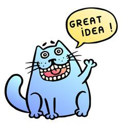 Great idea cute cat shout vector