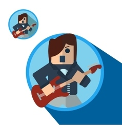 Guitarist icon flat vector