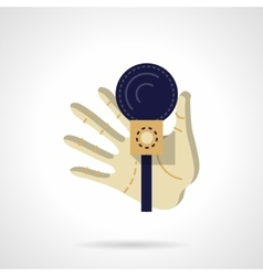 Hand with microphone flat color design icon vector image