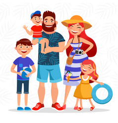 Happy family on summer vacation going to the beach vector