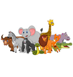 happy safari animal cartoon vector image