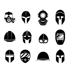 Helmets and masks icons vector