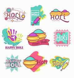 holi indian holiday isolated icons paint powder vector image