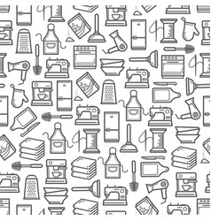 Home appliances kitchen utensils seamless pattern vector