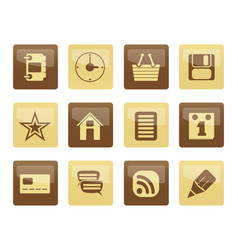 internet and website icons over brown background vector image