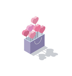 Isometric of valentines gift box with hearts vector