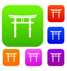 Japanese torii set collection vector