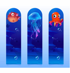 kids bookmarks with cartoon underwater creatures vector image