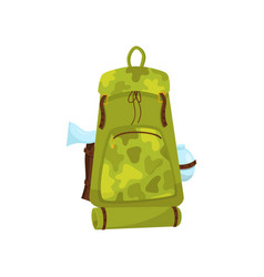 large camouflage backpack with ax tourist mat and vector image
