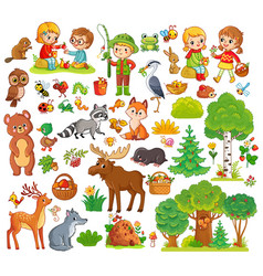 Large set with forest animals and children vector