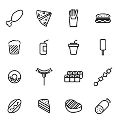 Line fastfood icon set vector