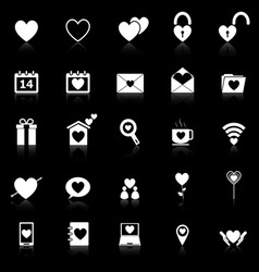 Love icons with reflect on black background vector