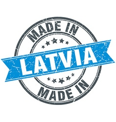 made in Latvia blue round vintage stamp vector image