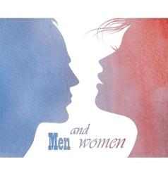Male and female profile vector