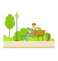 Man Reading A Book On The Bench Part Of People In vector