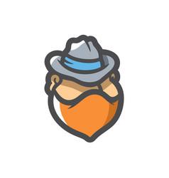 Masked criminal in hat cartoon vector