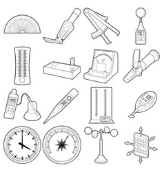 Measure tools icons set outline style vector