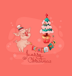 merry christmas pig and christmas tree vector image