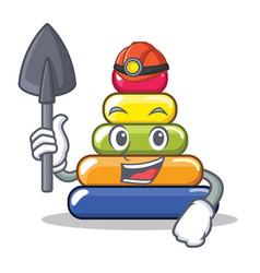 miner pyramid ring character cartoon vector image