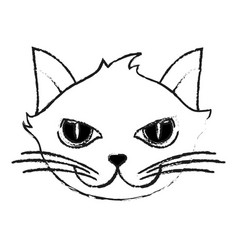 Monochrome blurred silhouette of cartoon face cat vector