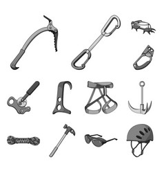 Mountaineering and climbing monochrome icons in vector