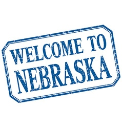 Nebraska - welcome blue vintage isolated label vector