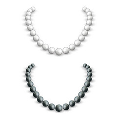 necklace white and black pearls on a female vector image