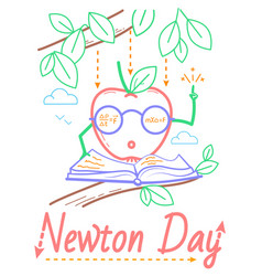 Newton day educational banner vector