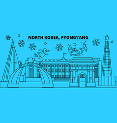 north korea pyongyang winter holidays skyline vector image