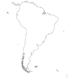 Outline map of South America vector image