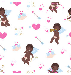 Pattern with african cupids vector