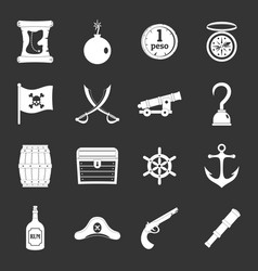 pirate icons set grey vector image