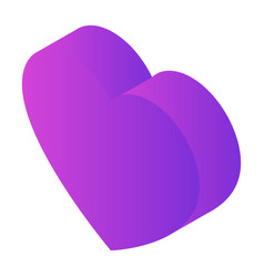 purple heart icon isometric style vector image