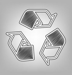 recycle logo concept pencil sketch vector image