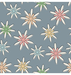 Retro seamless flower background pastel vector