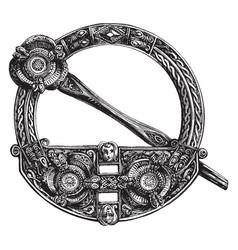 Round brooch is a circular design vintage vector