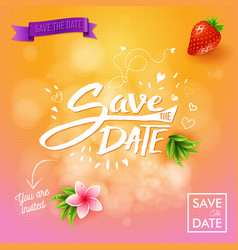 save the date background in pink and orange vector image