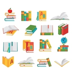 School Books Icon Set vector image