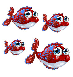 Set bloated cartoon red fish with blue spots vector