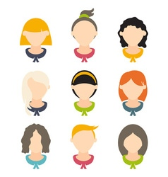 Set flat design of girls with different hairstyles vector
