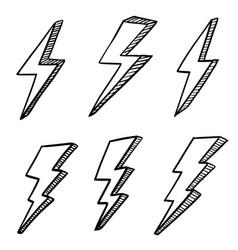 Set hand drawn doodle electric lightning bolt vector