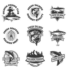 Set of salmon fishing emblems seafood design vector