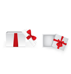 set of square open gift boxes with satin ribbons vector image