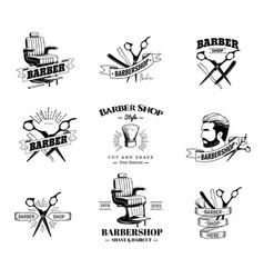 set retro barber shop emblems vector image