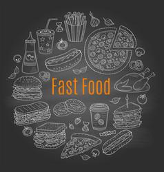 sketch fast food circular vector image