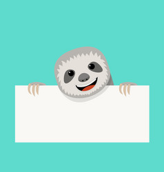 sloth and empty white paper design vector image